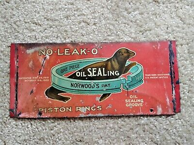 Rare No-Leak-O 1920 Piston Ring Advertising Rack Sign Oil Gas Can Sign