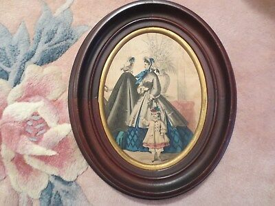 Antique Victorian Solid Wood Oval Frames colored prints of two ladies and girls.