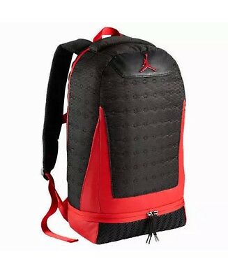 05254f16bc7 NIKE AIR JORDAN Retro 13 XIII Backpack Bag Black And Red Bred 9A1898 ...