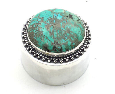 Stunning Design Turquoise Sterling Silver 925 Box 35g MR105