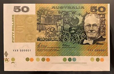 Number ONE Serial ** 1989 $50 Note ** YXS 000001 ** with Selvedge!! VERY RARE!!