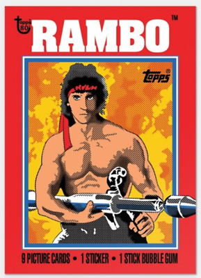 2018 Topps Wrapper Art #32 Rambo 1985 First Blood Part II 80th Anniversary PS