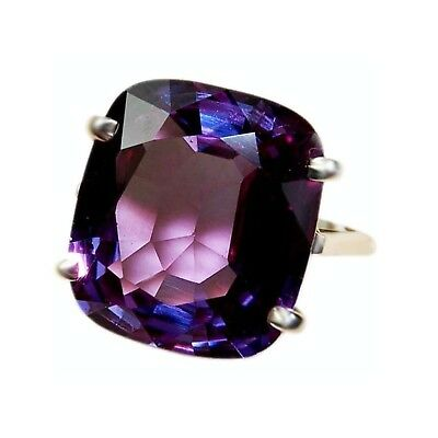 Valentines Day 14K White Gold Over Cushion Alexandrite Solitaire Engagement Ring