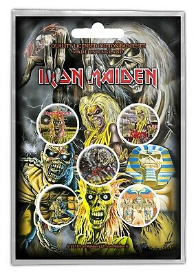 Iron Maiden Early Albums 5 Button Set Badge Pack Metal Badges Official New