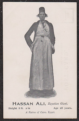 1905 Hassan Ali Egyptian Giant Circus Postcard Height 8Ft 2 Inches Cairo Egypt