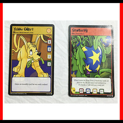 Neopets - 2 Cards Yellow Gerlert (115/140) And Starberry (227/234)