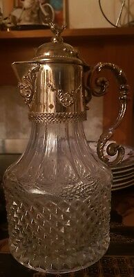 antique silver plated claret jug With Bird On Top