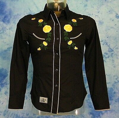 ROPER OLD WEST BLACK w/ YELLOW ROSE EMBROiDERED PEARL SNAP SMiLE WESTERN SHiRT S