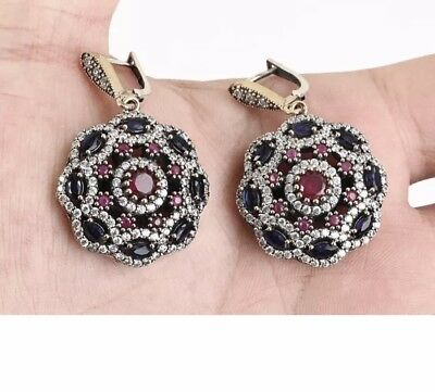 Antique Vintage 925 Silver D/Dangle Earrings with Red Ruby,Sapphire & Blue Topaz