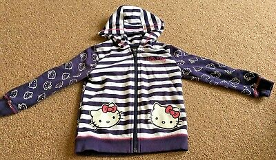 Girls Hello Kitty Blue White Striped Hooded Zip Up Jacket Age 3-4 Years Asda B50