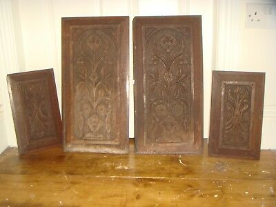4x vintage old carved wooden furniture panels shed barn find woodworking craft