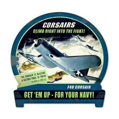"""Vought F4U Corsair """"Climb Right Into The Fight"""" Vintage WW II Aviation SIG-0139"""