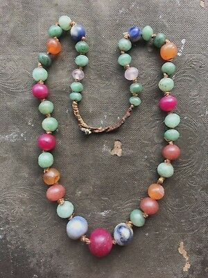Antique Chinese Graduated JADE & OTHER GEMSTONE Beaded Necklace - Very Old!