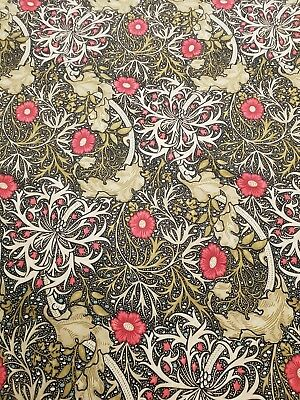 William Morris Seaweed Curtain Craft Fabric 2.8 Metres Ebony/poppy
