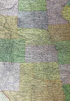 1921 Large Map United States Central Kansas Nebraska Colorado  Montana Iowa