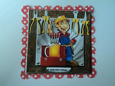 Pack 2 Handy Man Happy Fathers Day Embellishment Toppers For Cards Or Crafts