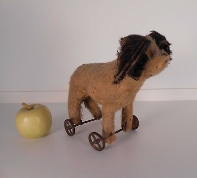 Early Antique Mohair & Excelsior Pull Toy Dog w/ Cast Iron Wheels c 1900 FA