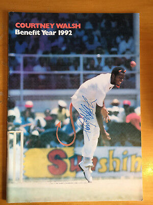 1992 Signed Courtney Walsh Benefit Programme Gloucs & west Indies