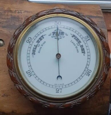 Vintage barometer w/ round enamel face, carved OAK wood