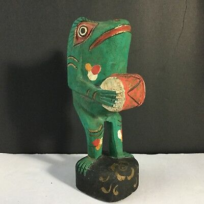 Vintage Folk Art Carved Painted Wood Frog With Drum Fun Quirky 7""