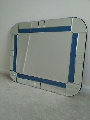 Very Rare Vintage Large 1930's Art Deco Mirror Blue Accents - Stunning Piece