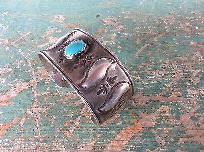 Fantastic Greg Lewis Acoma Pueblo Heavy Silver And Great Turquoise Bracelet N R