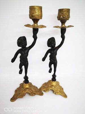 Pair Antique French Gilt Bronze Cherub Candle holders - Christmas Gift?