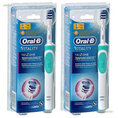 Oral-B Vitalidad Trizone Eléctrico Recargable Power Cepillo Dental Lote 2-Pack