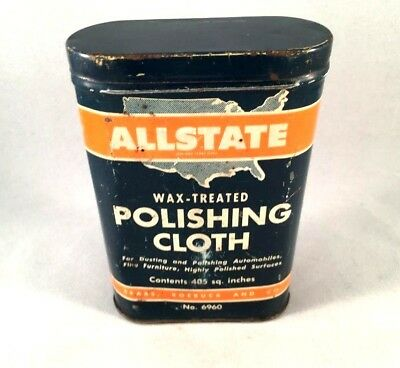 Vintage ALLSTATE DUST POLISHING CLOTH TIN CAN Rare Old Advertising Rag 1950s