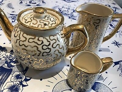 Vintage Gold Patterned Sadler Small Teapot, Cream And Milk Jug (3 Items)