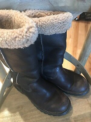 Ugg Womens Classic Tall Bomber Brown Leather Boots Size 7 Worn Couple Times