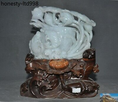 Chinese fengshui Natural Emerald Jade Jadeite pure Hand-carved lotus fish statue