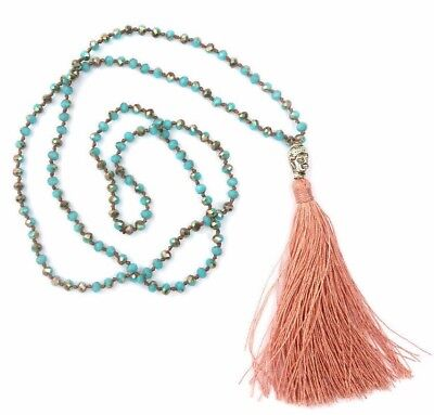 US SELLER  Colorful Crystal Beads w/ Buddha Head & Salmon Tassel Rosary Necklace