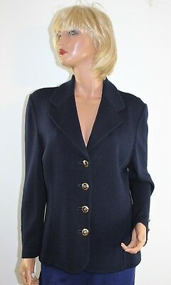 St John Basics Blue Santana Knit Blazer Jacket Sweater by Marie Gray Size 14