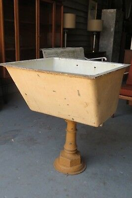 Antique Victorian Enameled Cast Iron Farm / Utility Ornate Large Pedestal Sink