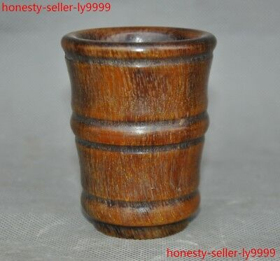 Chinese Old Horns Ox horn Hand-carved bamboo Wine vessel Goblet Wineglass Cup