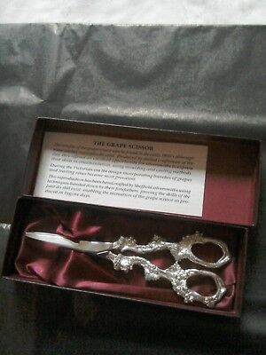 Quality Silver plate Vintage grape scissors in original box, never used