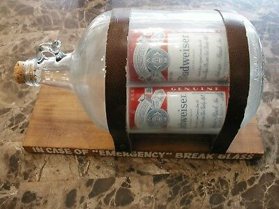 70's 80's Vintage RARE Budweiser 1 Gallon JUG with 3 One PINT CANs Inside U.S.A.