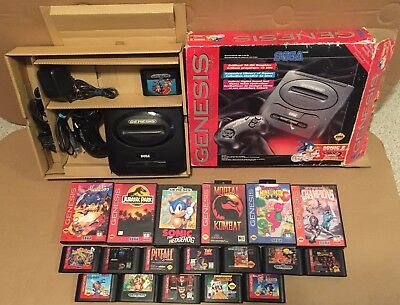 sega genesis System With Box & 19 Games Some In Cases All Authentic NO Doubles
