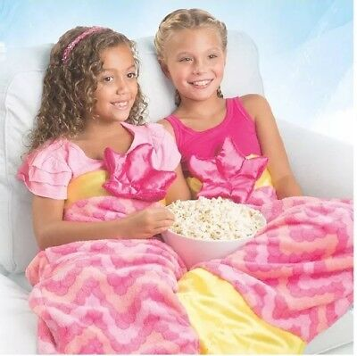 New Snuggle Tails Super Soft Fun Cuddly Velveteen Pink Mermaid Blanket for kids