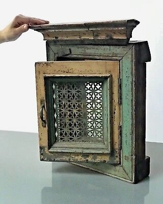 Antique / Vintage Indian Reclaimed Shuttered Jali With Mirror. Sage & Cappuccino