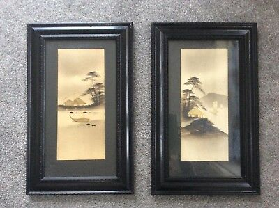 A PAIR OF ANTIQUE CHINESE/ASIAN ART PAINTINGS IN WODDEN FRAMES. 46cm x 28.1/2cm.