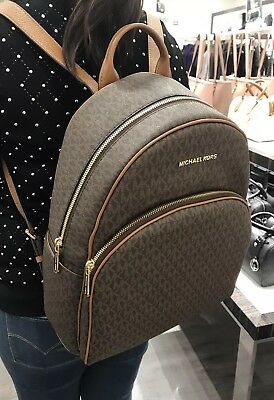 3fea92f3a215 NEW  398 WOMEN MICHAEL KORS ABBEY BROWN LARGE BACKPACK BOOK SCHOOL BAG FALL  Logo