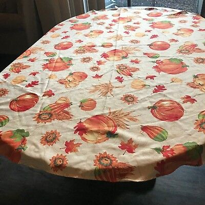 "Fall Thanksgiving Tablecloth 70"" Oval Authmn Pumpkins Gourds Sunflowers Leaves"