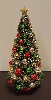 Vtg Large Christmas Bottle Brush Tree Gold Glitter Mercury Glass Ornaments Star
