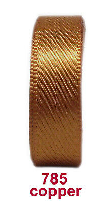 """25y Copper 3mm 1/8"""" Premium Double Sided Faced Satin Ribbon Eco Holiday"""