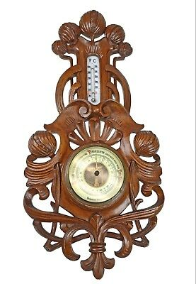 Antique Pomegranate Carved Barometer / Thermometer, Dutch.