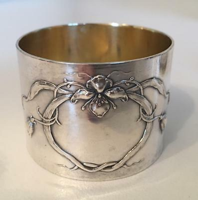 Russian Art Nouveau Sterling Silver Napkin Ring decorated w/ orchid No monogram