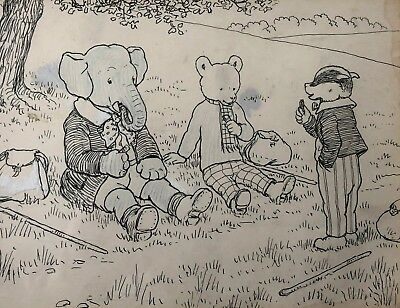 Tourtel Rupert Bear Original Artwork 1932 Rupert Goes Hiking Unique