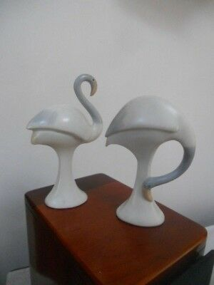 Vintage Set Of 2 Porcelain Flamingo Bird Figurines By ''crowning Touch'' Japan